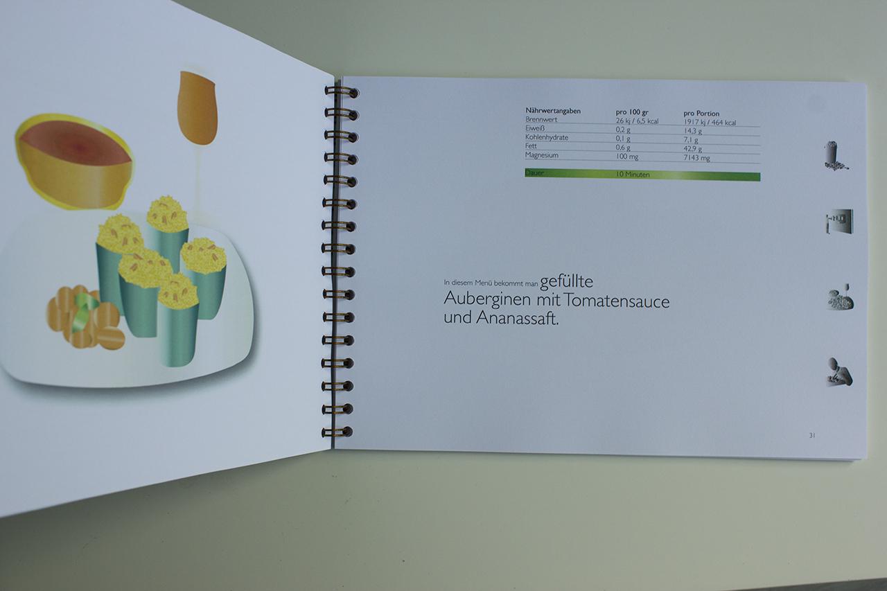 Kochbuch seiten im studiengang kommunikations design