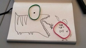 illustrations out of elastic bands