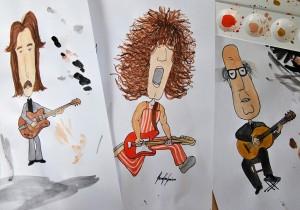 Designstudentin karikiert Gitarristen