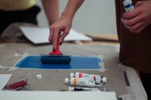 Designstudenten im Illustrationskurs