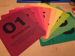 Bewertungskarten im Designstudium
