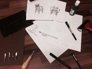 Designstudenten lernen das Illustrieren