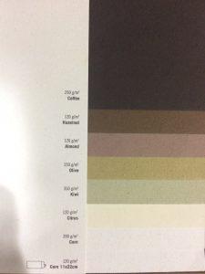 Farben und Oberflächen von Papieren