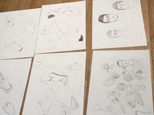 gezeichnete Körperteile von Designstudent