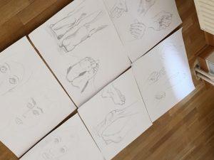 gezeichnete Körperteile von Designstudentin