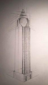Designstudentin-zeichnet-Hochhäuser