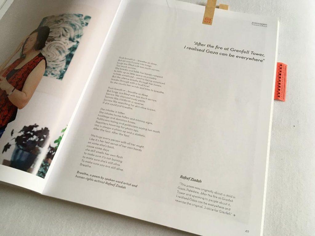 Seite aus Magazin mit viel Weißraum gestaltet