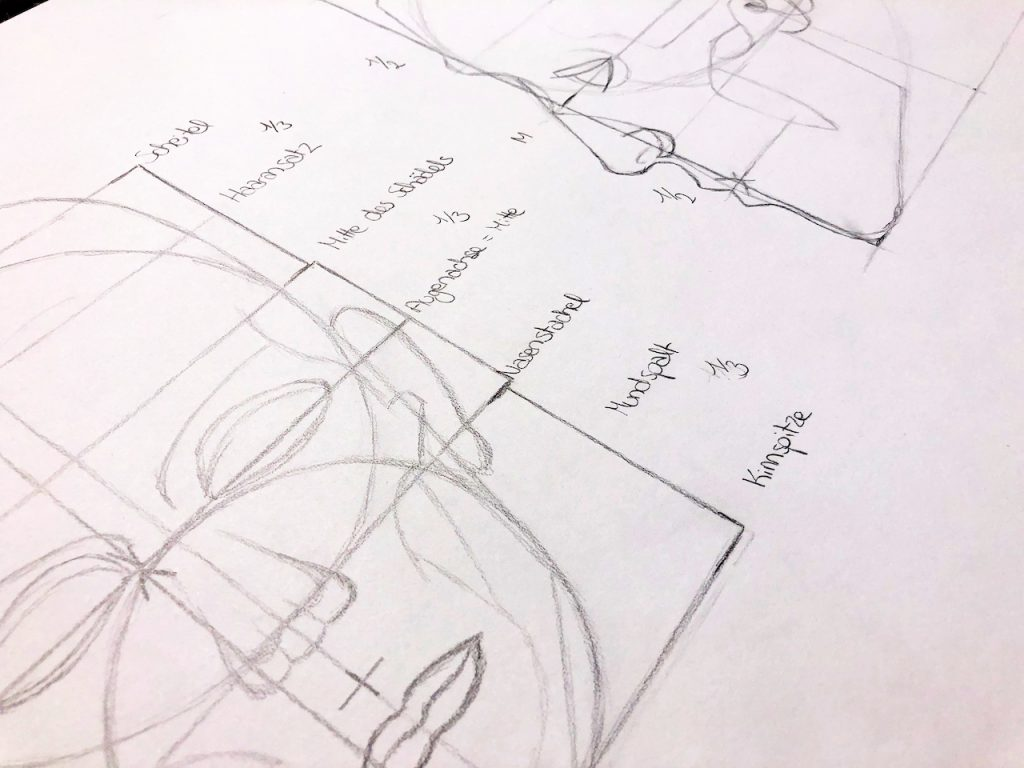 Close Up einer Proportionsstudie des menschlichen Kopfes