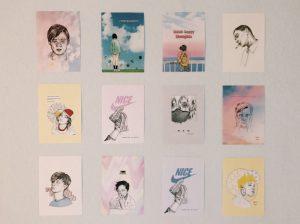 Designstudentin dekoriert mit eignen Prints