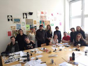 Peter Bankov, Katerina Terekhova und Dunja Ratner im Workshop in der European School of Design