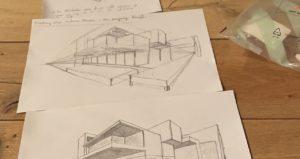 Architektur Zeichnungen in der 1.Punktperspektive