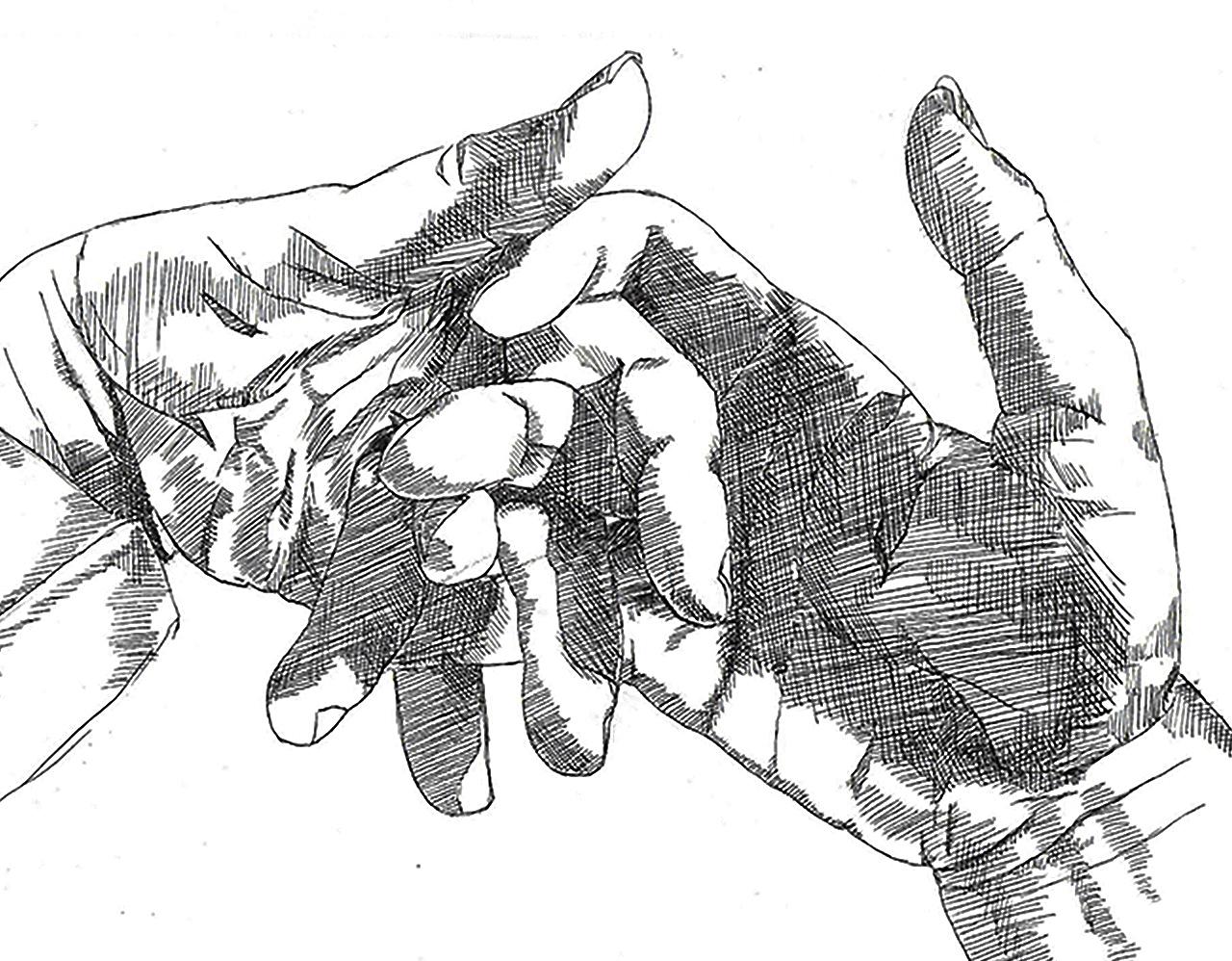 Kreuzschraffur 2 Hände