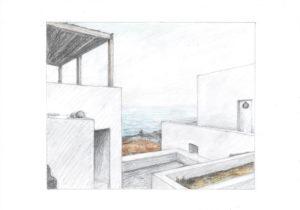 Designstudentin zeichnet Haus am Meer